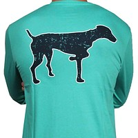 SPC Signature Long Sleeve Vintage Logo Tee in Navy & Teal by Southern Point Co.