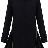 ROMWE | Montage Lace Side Knitted Black Dress, The Latest Street Fashion