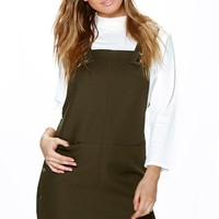 Petite Jessica Popper Side Bonded Pinafore Dress