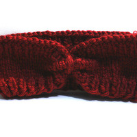 Dark Red Knitted Headwrap from Insparel