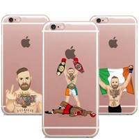 UFC Conor McGregor Clear Soft silicone TPU Phone Cases Cover  For iPhone 8 8Plus 7 7Plus 6 6S 5 5S 6S Plus