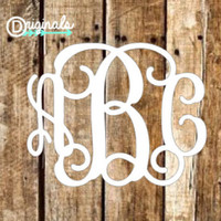 Vine Monogram - Monogram Car Decal - Custom Monogram Decal - Custom Car Decal