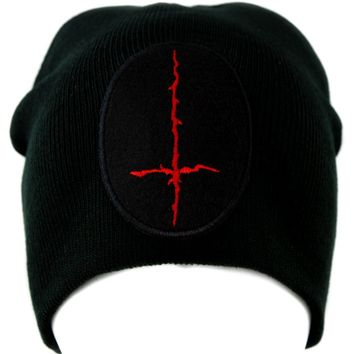 Red Thorn Jagged Inverted Cross Knit Cap Beanie Occult
