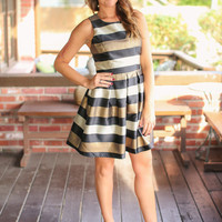 All Bets Off Dress - Black and Gold
