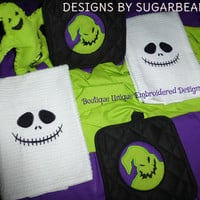 Nightmare Before Christmas Towels & Pot Holders Jack Skellington Oogie Boogie DeLiCiOUS SWeeT GiFT for Your KiTCHEN Designs by Sugarbear