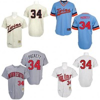 White 1991 Cream 1969 Grey 1987 Light Blue Throwback Kirby Puckett Authentic Jersey , Men's #34 Majestic MLB Minnesota Twins Cooperstown