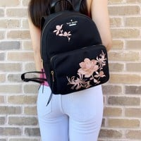 Kate Spade Dawn Place Embellished Small Noria Backpack Black Pink Floral