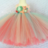 Pink, Mint & Coral Tutu Dress- Aqua, Peach, Flower Girl, Birthday, 1st birthday, Cake Smash, flowers, toddler, baby girl, pageant dress