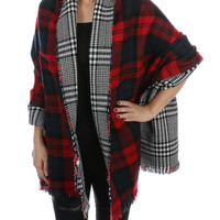 Lexington Two Faced Plaid Blanket Scarf in Red