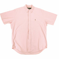 Short Sleeve Oxford Shirt by Ralph Lauren Polo - Button Down Pink Ivy League Menswear - Men's Size Large Lrg L