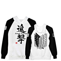 Attack on Titan Scouting Legion Eren Jaeger White Hoodie Cosplay Sweater All Size and Free Shipping SW85BW