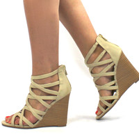 """Royce"" Strappy Wooden Wedge Sandals - Ivory"