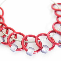 Small Beaded stitch marker | Stitchmarkers | Beaded stitchmarker | Knitting supplies | dangle-free | red rings; purple beads | #0316