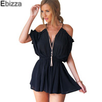 Ebizza 2018 New Summer Sexy Strap V-neck Cold Shoulder Jumpsuit Romper Women Backless Tie Back Playsuits Lace Up Beach Overalls