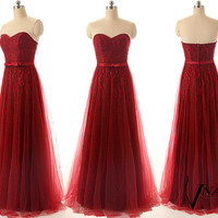 Sweetheart Strapless A Line Wedding Party Dress Elegant Long Burgundy Red Wine Lace Prom Dresse Formal Evening Dresses 2014 Bridesmaid Dress