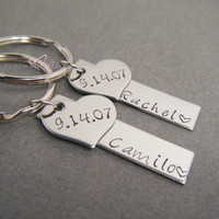 Couple Keychains, Name Keychain, Bar Keychain, Date keychain, Personalized Wedding Gift, Heart Keychain, Hand Stamped, Couples Gift