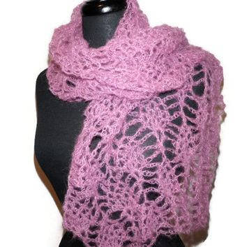 Lacy kid mohair crochet scarf in rose