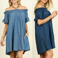 Denim Off The Shoulder Boho Dress
