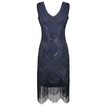 Women's Retro 1920s Great Gatsby Dress Vintage V Neck Fringe Hem Art Deco Beads Sequined Cocktail Flapper Party Dress