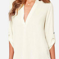Deep V Blouse in Beige