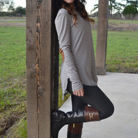 Elbow Patch & Stripes Sweater