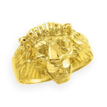 14k Gold Lion Head Men's Ring