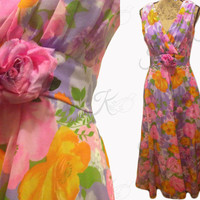 60s 70s Vintage Formal Dress, Floral Prom Dress, Empire Waist Sheer Chiffon, Sleeveless Evening Gown, Large Vintage Gown, Maxi Dress, Purple