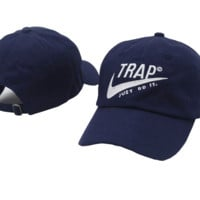 Navy Blue Trap Embroidered Adjustable Outdoor Baseball Cap Hats