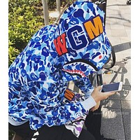 Bape Psychedelic Stars Camouflage Shark Zipper Hooded Sweater M Xxl