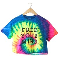 Free Your Mind. Bright Rainbow Tie-Dye Graphic Unisex Cropped Tee