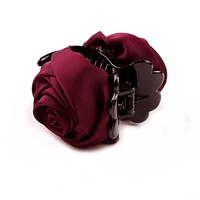 Elegant Double Rose Hair Claw in Wine Red
