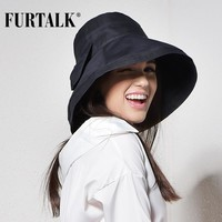 FURTALK Women Bucket Hat for Fishing Beach Cotton Summer Sun Hats for Women Fashion Design Foldable Brimmed with Big Bowknot