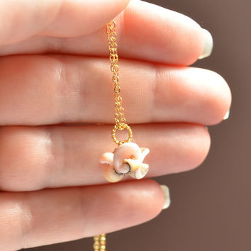 NEW Sea Shell Necklace, Gold Filled or Sterling Silver, Real Seashell, Pale Pink, Beach Jewelry, Bridesmaid, Free Shipping