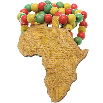 Yellow Multicolor Wooden Beaded Africa Map Necklace
