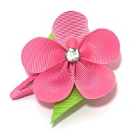 Girls Ribbon Flower Snappy Clip