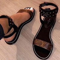 Louis Vuitton Women Leather Sandals Flat Shoes