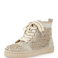 Louis Spiked Suede Sneaker, Colombe - Christian Louboutin - Colombe