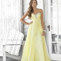 Blush 2014 Prom Dresses - Lemon Chiffon Rhinestone Strapless Sweetheart Prom Dress Lemon Chiffon Rhinestone Strapless Sweetheart Prom Dress