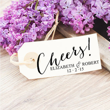 Custom Gift Tag Stamp - Thank You Wedding Stamp - Calligraphy Cheers Rubber Stamp for Wedding Favors, Gifts - Personalized Gift for Brides