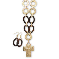 Gold Tone Textured Cross Fashion Necklace and Earring Set