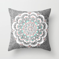 Pastel Floral Medallion on Faded Silver Wood Throw Pillow by Tangerine-Tane