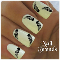 Nail Decal. 20 Feather Vinyl Stickers Nail Art