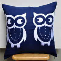 Twin Owls Pillow Cover, 18 x 18 Decorative Throw Pillow Cover, Navy Blue Linen with White Owls Embroidery, Accent Pillow, Cushion Cover