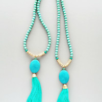 Turquoise Quartz & Mint Tassel Necklace - Genuine Stones