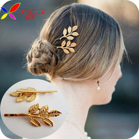 2014 hotest 2 designs  fashion elegant golden Tone alloy metal leaf hairpin hair clips accessories for women bijoux 2pcs/lot