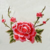 2 Pcs Red Flowers Iron On Patches Embroidery Peony Sew On Appliques For Motifs Craft Sewing
