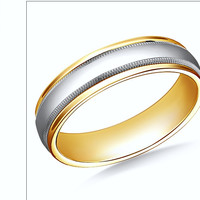 14K Two-Toned Comfort-Fit High Polished 6mm Band with Milgrain
