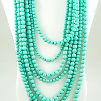 7 Strand Beaded Statement Necklace