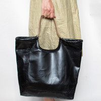 hand made Black leather tote