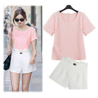 Pink Dotted Shirt And White Pleated Shorts